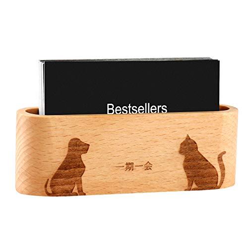 名刺立て 木製 名刺スタンド 卓上 名刺管理 ビジネスカード立て おしゃれ カードスタンド可愛い (猫と犬)