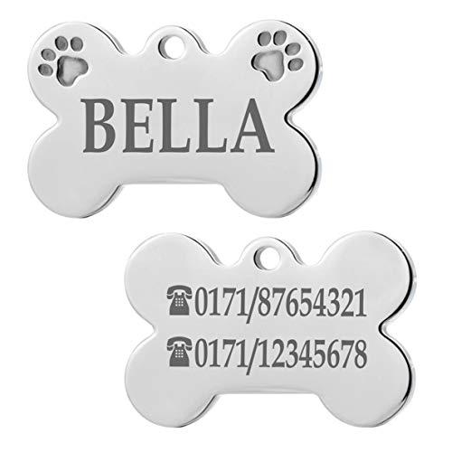 Iberiagifts - Hundemarke Knochen mit Pfoten aus Edelstahl mit Gravur für kleine bis mittelgroße Hunde und Katzen - Plakette graviert und personalisiert (Mit 2 Pfoten)