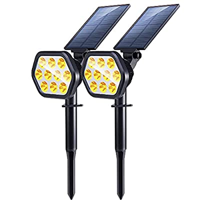 Nekteck Solar Lights Outdoor,10 LED Landscape Spotlights Solar Powered Wall Lights 2-in-1 Wireless Adjustable Security Decoration Lighting for Yard Garden Walkway Porch Pool Driveway 2 Pack Warm White
