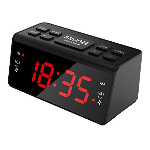 Radio Reloj Despertador con gran pantalla - radio fm am digital | alarma dual | color negro