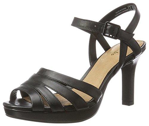 Clarks Mayra Poppy, Sandalias de Tacón para Mujer, Negro (Black Leather), 37.5...