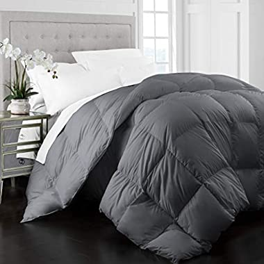 Beckham Hotel Collection 1400 Series Egyptian Quality Cotton Goose Down Alternative Comforter - 750 Fill Power - Premium Hypoallergenic All Season Duvet - Full/Queen - Gray