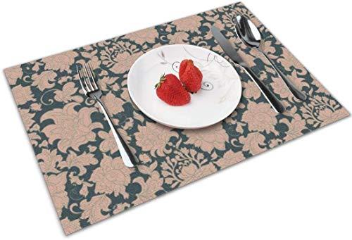 Manteles individuales para mesa de comedor impermeable 4 piezas mesa de cocina lavable resistente al calor e ilustración duradera Flores modelo sin costuras