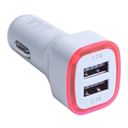 Exanko Cargador de TeléFono MóVil Universal 2.1A LED USB Dual 2 Puertos Adaptador Caliente Cargador de Coche para