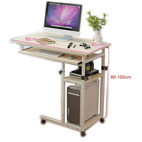 Mesita de noche portátil elevable, mesa de escritorio para portátil principal, dormitorio, escritorio, mesa pequeña de 40 cm x 60 cm x (65-90) cm, Panel base de madera., G, B