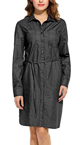 ANGVNS Frauen Kleid Jeanskleid unten Kragen Lange Hülse festes Knopf Knielänge mit Gurt 100% Baumwolle (XL, Schwarz)