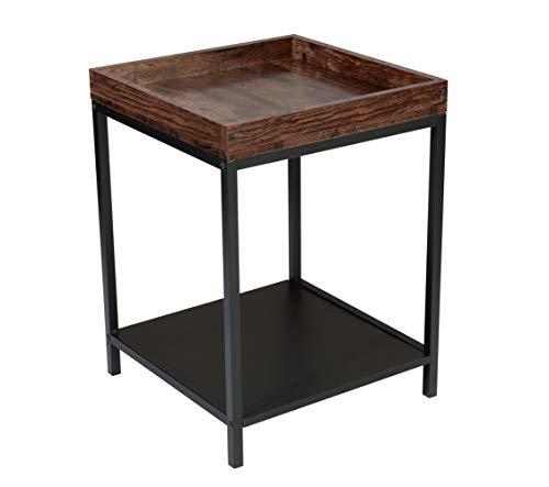 BOTONE Beistelltisch Sofatisch mit Ablage, Kaffeetisch Nachtkonsole Nachttisch mit Metallgestell, Tablett, Schlafzimmer, Wohnzimmer, quadratisch, stabil, im Industrie-Design, Vintage 45x45x60cm