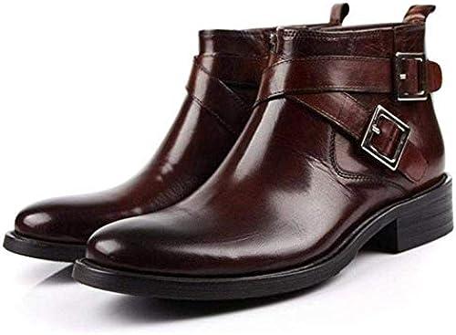 Fuxitoggo Mode Herren Stiefel High Top Business Anzüge Schnalle Winterstiefel (Farbe   43, Größe   Schwarz