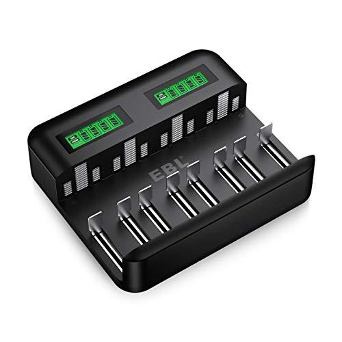 EBL Caricabatterie Universale 8 slot per AA e AAA C e D Batterie Ricaricabili con LCD Display e Porta USB,Multipla Caricabatterie con Tecnologia di Rilevamento Intelligente per Batterie Ricaricabili
