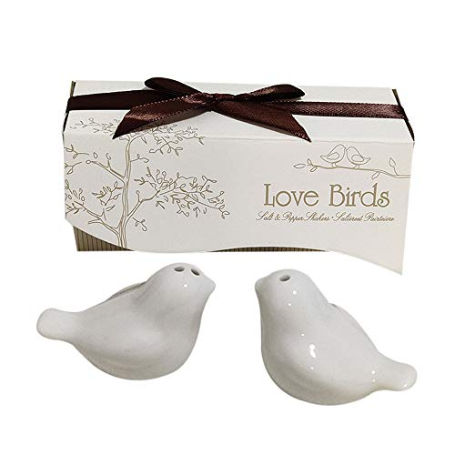 Love birds in The Window Ceramic Salt and Pepper Shakers for Wedding Favors, Set of 72