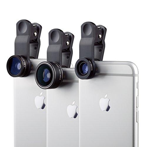 MyGadget Kit de Lentes para Móvil 3 en 1 Ojo de Pez 230°, Gran Angular 0.63x y Macro 15x - para Tablet Smartphone Samsung Galaxy Apple iPhone Huawei Xiaomi