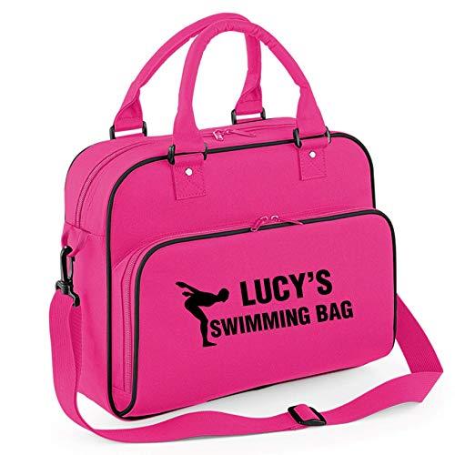 Union Leisurewear Ltd iLeisure Mädchen-Sporttasche, personalisierbar, mit tollen Tauchfiguren Gr. Medium, Fuchsia/Schwarz
