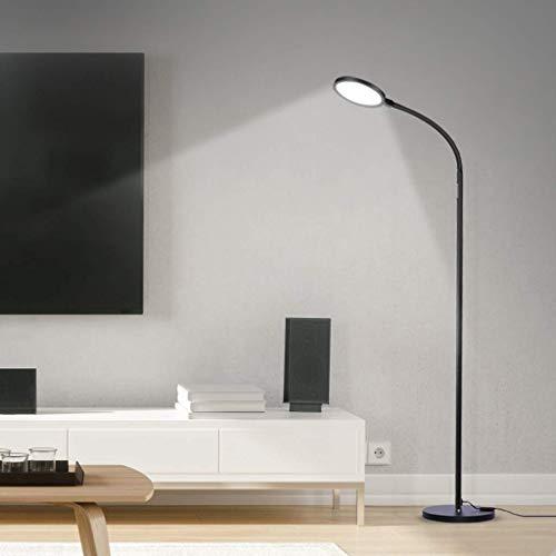 SKSNB Lámpara de pie LED para Sala de Estar de 7 W Regulable con Control Remoto, lámpara de pie de Lectura Moderna para Dormitorio, habitación de los niños, Oficina, luz de Lectura Negra