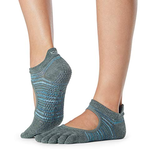 Toesox Full Toe Bellarina Grip for Barre, Pilates and Yoga (Small, Upland)