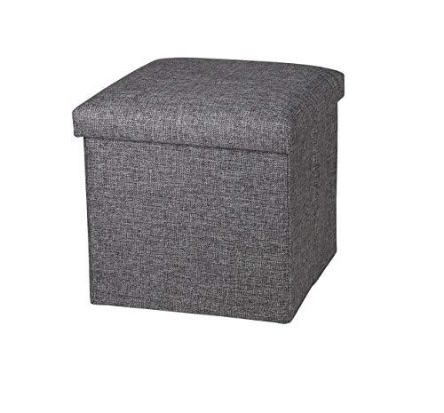 Ducomi - Puf plegable con reposapiés, taburete de almacenamiento, baúl para juguetes, sillón contenedor para el salón, diseño italiano (Oxford, Grey)