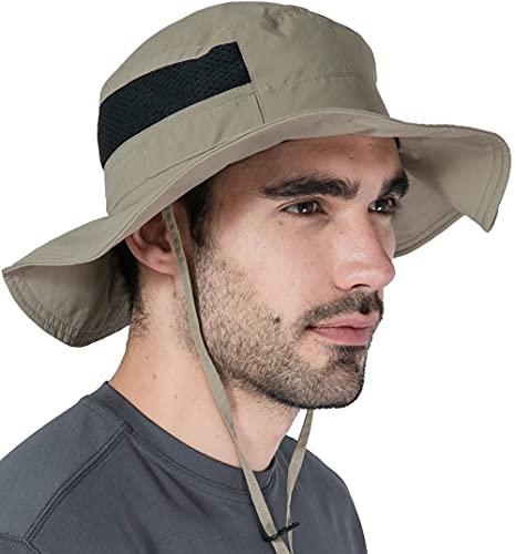 Fishing & Hiking Boonie Sun Hat for Men & Women - UV Protection Wide Brim Bucket Hat - Outdoor Safari Summer Cap - UPF 50+ Dark Khaki