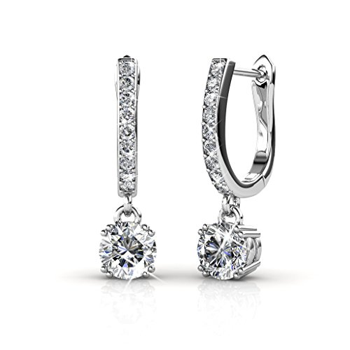 Cate & Chloe McKenzie 18k White Gold plated brass with Swarovski Solitaire Crystals Dangle Channel Set Drop Horseshoe Earrings