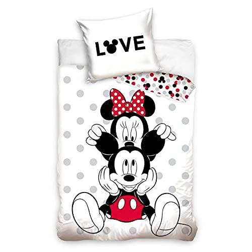 Funda de edredón Mickey y Minnie Duo, color blanco, 140 x 200 cm, niño, 100% algodón, funda de almohada 70 x 90 cm, cremallera
