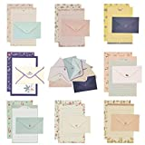 ELTNEGSA stationery paper, 72PCS writing paper stationery set (48 stationery paper + 24 envelopes) 8 Different Style