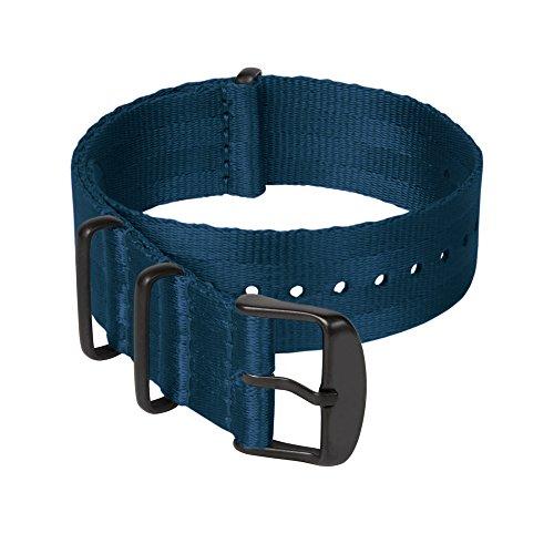 Archer Watch Straps Sicherheitsgurt Stil Gewebtes Nylon NATO Uhrenarmband - Navy Blau/Schwarze Hardware, 22mm