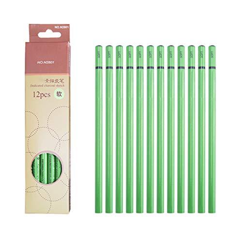 WE-WHLL 12pcs Professionelles Skizzieren von Kohlestiften Zeichnen von Carbon Pen Soft Medium Hard Manga Malzubehör-A