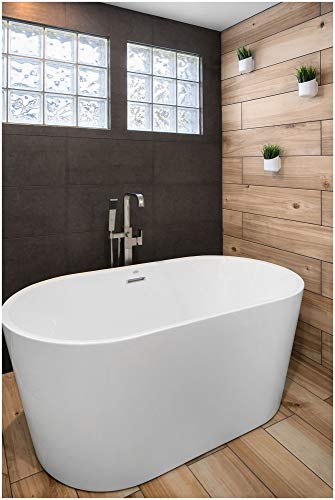 Jacuzzi NW55826 Jacuzzi NW5582 Floor Mounted Tub Filler with Metal Lever Handle, Built-In Diverter, Single Function Hand Shower and Square Escutcheon