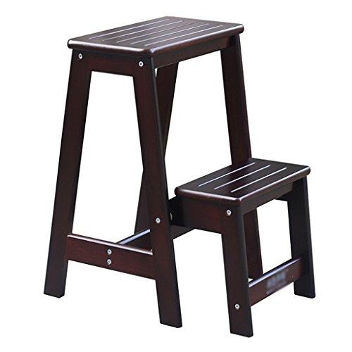 Tlmydd Escalera escalera escalón taburete pino 2 pasos antideslizante taburete cambia zapato banco escalera plegable escalera alta casa jardín cocina herramienta taburete escalera, 29x48x55cm Taburete