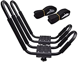 TMS J-Bar Rack HD Kayak Carrier Canoe Boat Surf Ski Roof Top Mounted on Car SUV Crossbar