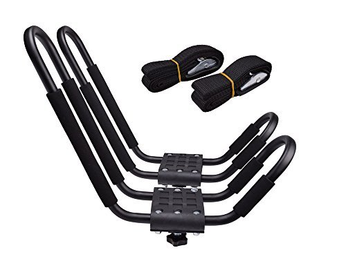 TMS J-Bar Rack HD Kayak Carrier Canoe Boat Surf Ski Roof Top Mounted...