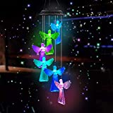 DYHOME Solar Angel Wind Chimes for Outside, Solar Light Wind Chimes Angel Gifts for Mom Grandma Christmas Outdoor Gifts Unique Birthday Gifts for Women Who Has Everything Yard Garden Decor