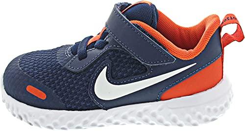 Nike Revolution 5, Scarpe da Ginnastica Unisex-Bambini, Midnight Navy/White-Orange, 27 EU