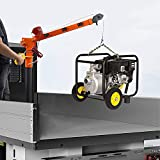 RUGCEL WINCH New 1100lb Folding Truck-Mounted Crane, with Electric Winch 3500 lb 12V, Painted Steel 1100 lb Pickup Truck Jib Cranes 360 Swivel