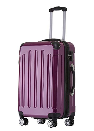 BEIBYE Zwillingsrollen 2048 Hartschale Trolley Koffer Reisekoffer Taschen Gepäck in M-L-XL-Set (Lila, M)