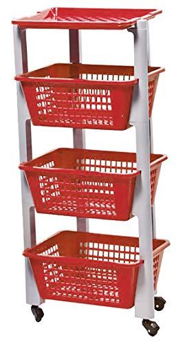 MASMAS Carrito de Plástico con 4 Niveles, Estantería con 4 Ruedas, Organizador para Cocina y Baño, Estante de Almacenamiento,Tamaño 35x26x85cm (Rojo)