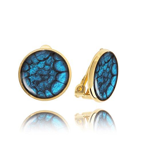 Orecchini a Clip Realizzati da Dragon Porter Color Blu Scuro da Donna