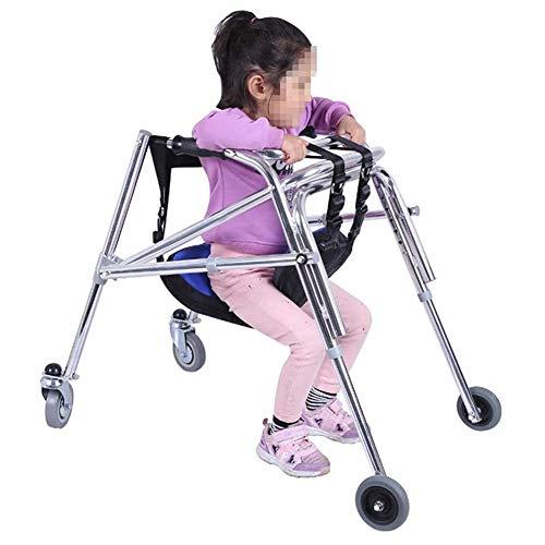 XJZHANG Andador con Ruedas para rehabilitación Infantil con Asiento Plegable unidireccional antirretroceso Marco de pie Ajustable en Altura para parálisis Cerebral Entrenamiento para niños