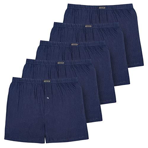 ROYALZ 5er Pack Boxershorts für Herren weich Baumwolle Locker American Style Basic Men Unterhosen Weit klassisch Weich 5 Set Männer Unterwäsche, Farbe:Navy Blau, Größe:L