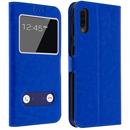 Gemtoo® Etui Coque Housse avec FENETRES pour Samsung Galaxy A50 - Plusieurs Couleurs Disponibles (Bleu)