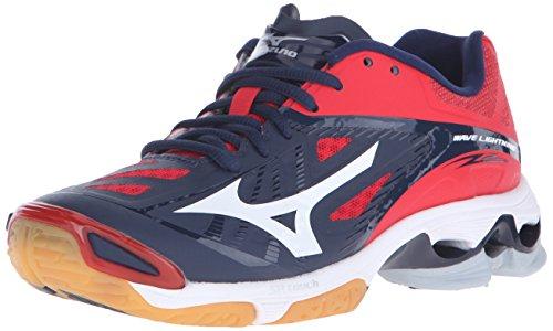 Mizuno Women's Wave Lighting Z2 Volleyball Shoe, Navy/Red, 10 D US