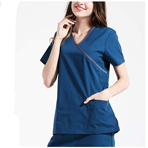 Medizinische Uniformen Damen-Peelingset Berufsbekleidung V-Ausschnitt Anti-Falten-Top Kordelzughose Stretch Ultra Soft Double-Pocket,Blue,M
