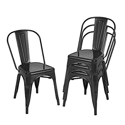 BONZY HOME Metal Dining Chairs, Stackable Side Chairs with Back, Indoor Outdoor Use Chair for Farmhouse, Patio, Restaurant, Kitchen, Set of 4 (Black)