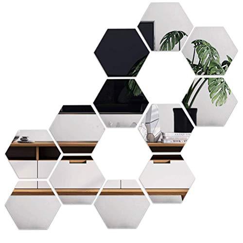 Conjunto de 3 espejos hexagonales de oro