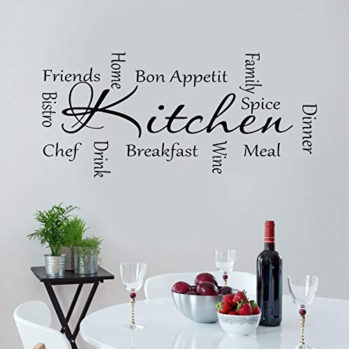 Cocina Cocinar Palabras Cena Vino Chef Bon Appetit Comida occidental Letras Etiqueta de la pared Vinilo Arte Calcomanía Sala Comedor Restaurante Decoración para el hogar Mural