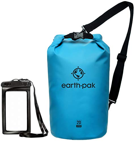 Earth Pak -Waterproof Dry Bag - Roll Top Dry Sack Keeps Gear Dry for Boating, Hiking, Camping and Fishing with Waterproof Phone Case (Light Blue, 10L)