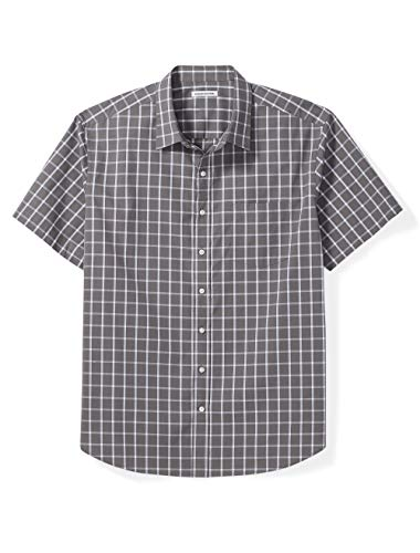 Amazon Essentials Men's Big & Tall Short-Sleeve Plaid Shirt fit by DXL, Gray Windowpane, 3X Cotton Short Sleeve Camp Shirts