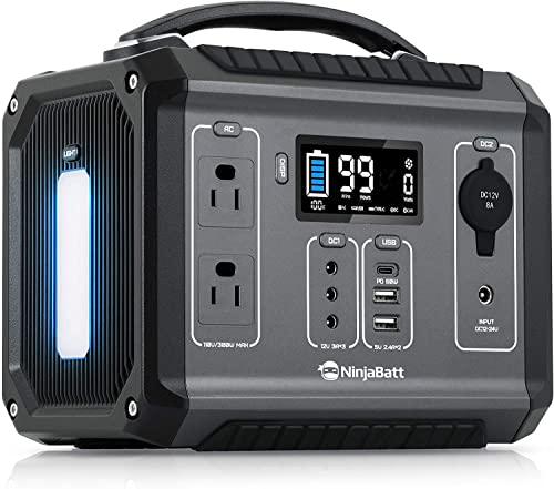 NinjaBatt Portable Power Station 300-280Wh Backup Lithium Battery with 110V/300W Pure Sine Wave AC Outlets, QC3.0 & PD 60W - Silent Generator for Outdoor Camping RV Emergencies
