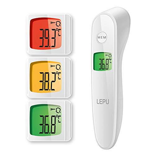 Fieberthermometer Infrarot Stirnthermometer, kontaktlos Fieber messen, mit dreifarbigem Ampeldisplay für Baby, Kind, Erwachsene