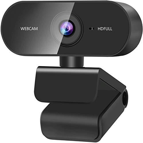 Webcam pour PC avec Microphone, Webcam 1080P, Micro Antibruit et 360° Rotation pour Chat Vidéo et Enregistrement pour Ordinateur de Bureau et Portable pour Appels Vidéo, Conférence, Jeux, Streaming