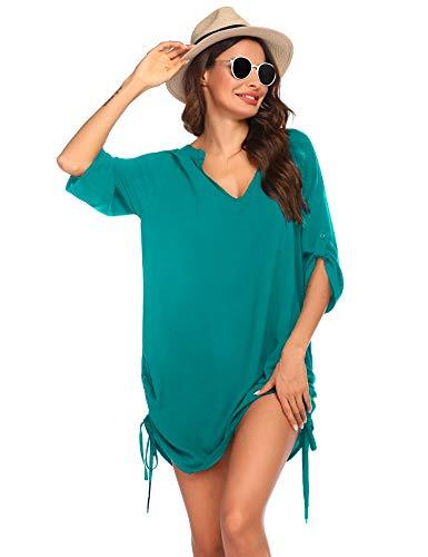 Balancora Copricostume Donna Mare Copribikini da Spiaggia Bikini Cover Up 3/4 Manica Scollo a V Coprire Estate Spiaggia sabbiosa Costumi da Bagno