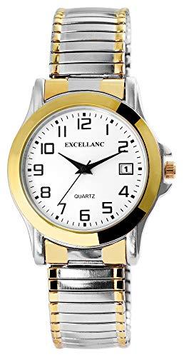 Excellanc Herrenuhr Weiß Silber Gold Analog Datum Metall Zugband Quarz Zugarmband Armbanduhr